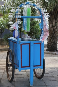 ice cream cart with real glasses
