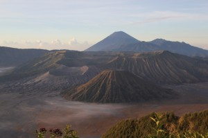 Gunung Bromo to the left, Gunung Batok in the middle, and behind Gunung Semeru towering over all the others