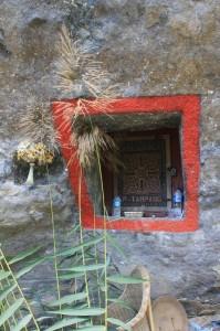 rock-hewn grave in the rocks outside Lokomata