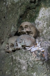 several skulls, with cigarettes as offerings