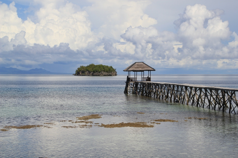 jetty of one of the lodges on Kadidira