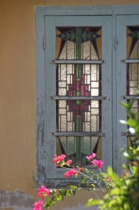 stained glass in wooden windows