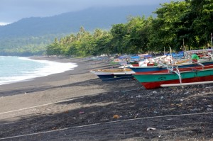 boats on the beach, as far as the eye can see