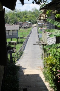 board walk towards the other side of the village