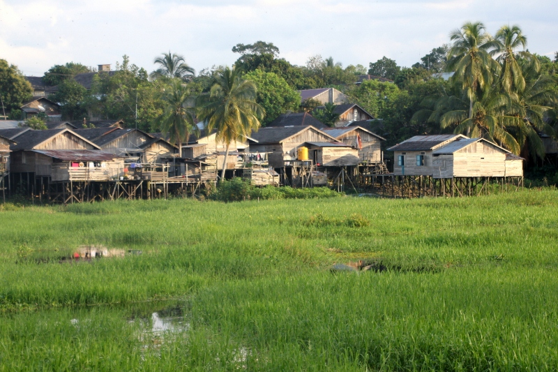 view of the village, from across inundated flats at the other end of the board walk