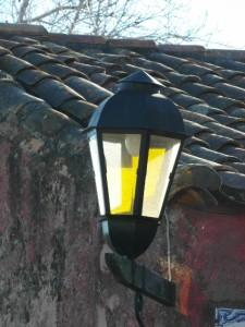 the streets lamps fit in the scenery, although they may be a relatively recent addition