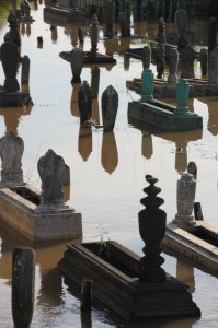 even the cemetery is inundated