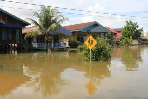 Tering village, inundated