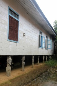 house on poles, carved into patongs