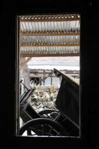 old carriage, through the window