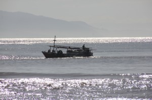 larger fishing vessel active offshore