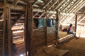 inside the houses, some rudimentary rooms have been constructed