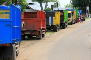 trucks lined up to load and unload