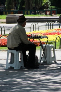 chess player waiting for an opponent