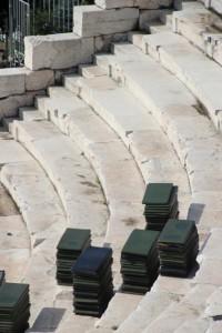 the Plovdiv Roman amphi-theatre preparing for a concert