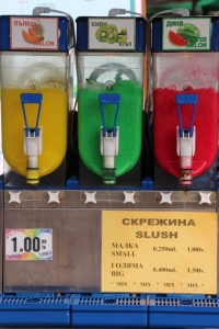 colourful drinks for sale in Sozopol. at the Bulgarian Black Sea Coast