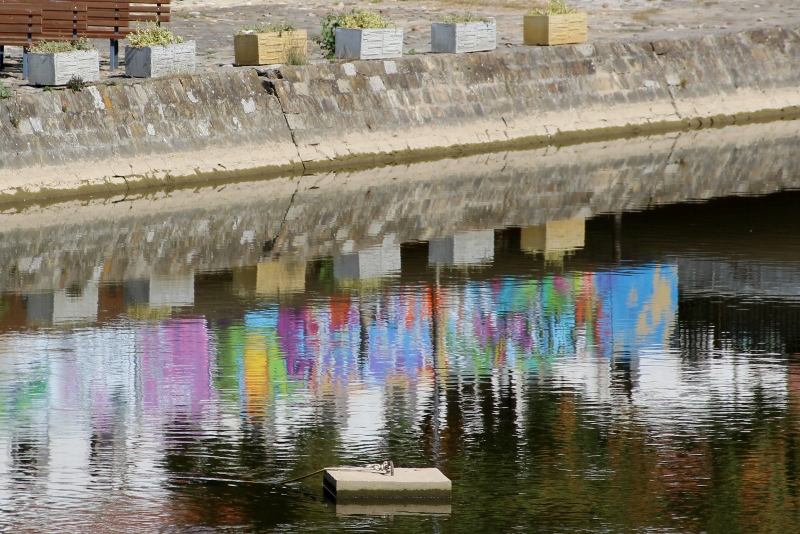 graffiti art in Lovech, reflected in the river