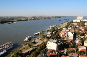 the view from the hotel roof, over the Danube