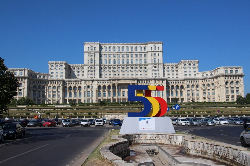 the Palace of the People, with the 555 symbol in front (Bucharest's 555th birthday, in 2014)