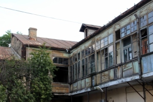 part-wooden houses in a Iasi courtyard
