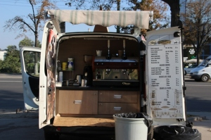 small business is booming: the back of the van is the coffee shop