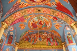frescos inside the Capriani Monastic church, pretty bright, pretty new