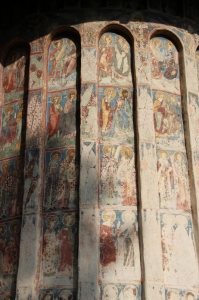 frescos on the outside of the sanctuary
