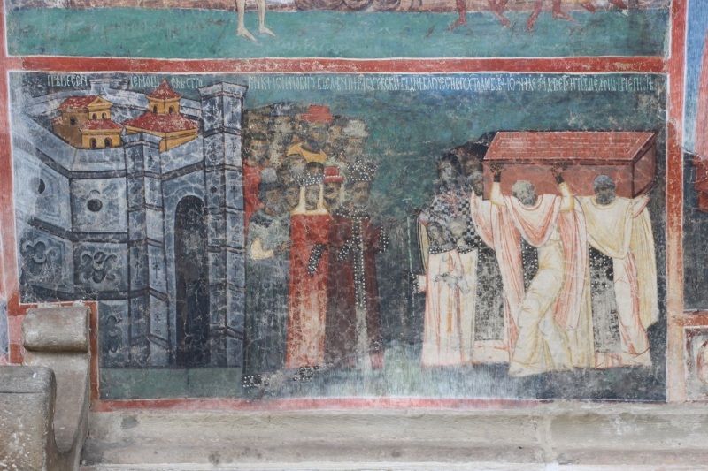 fresco of the burial of a king