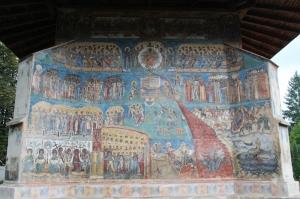 impressive Last Judgement fresco on the side of Voronet monastry church