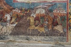 detail of horsemen in Siege of Constantinople (Moldovita)