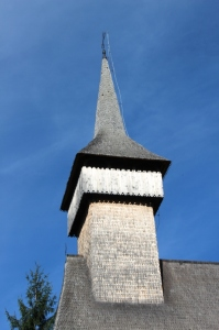 wooden church spire of Sarbi in Maramures