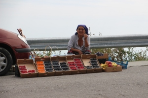 woman selling fruit along the road into the Bucegi Mountains