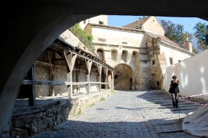 the entrance to the citadel of Sighisoara