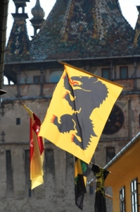 one of the flags that enliven the streets of Sighisoara, one of the Siebenburgen in Transylvania