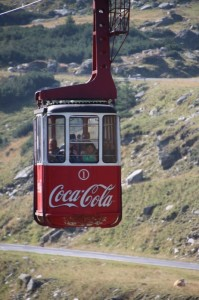 one of the two cable cars traveling up and down to the top of the Transfagarasan Highway