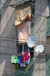 laundry outside palatis in Ploiesti