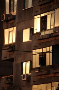 palati windows and balconies in the sunset