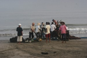 everybody gathered after the landing of boat and nets