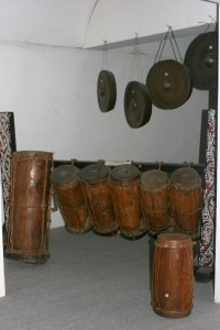 collection traditional drums inside the museum