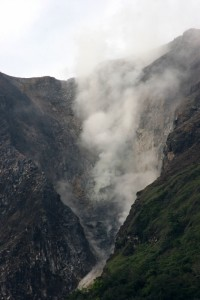 Gunung Sibayak is much more threatening, with steam and sulphur