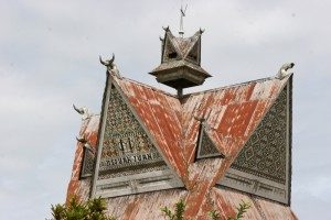 the roof of a Rumah Adat in Lingga, one of the best-preserved villages