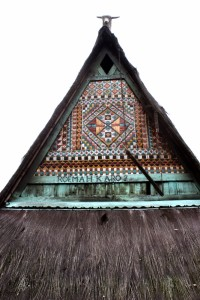 the front gable of one of the Rumah Adats in Dokan