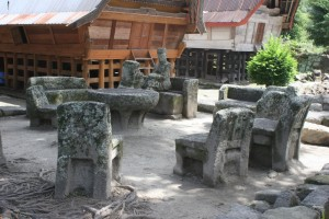 stone chairs, possibly the old court, in Ambarita