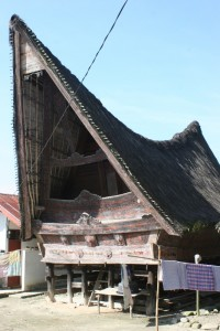 one of the houses, with overhanging roof