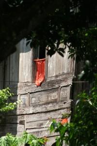red cloth as a curtain