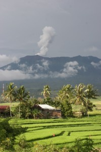 smoke plume above Gunung Merapi near Bukittinggi