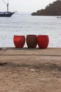 buckets on the quay of Labuanbaju