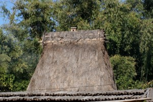 tall thatched roof, with Bhaga decoration (Bela)