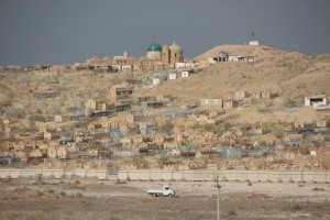 view of the Mizdarkhan cemetry, from the Gyaule Kale