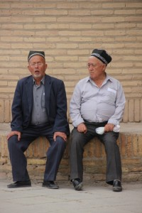 two Khiva men at the west gate of the walled city